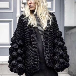 Sweaters - CAUSEY Hand Made Knitted Chunky Cardigan Black